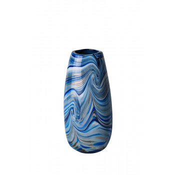 Стеклянная ваза синяя d13,5*30см HJ1917-30-V88