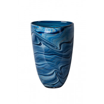 Стеклянная ваза синяя d18,5*29см HJ1227-28-V88