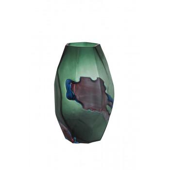 Стеклянная ваза сине-зелёная d21*30см HJ1724-33-W59