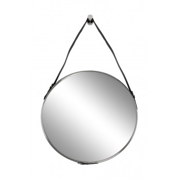 Зеркало на кожаном ремне, рама металлическая, цвет хром d61см 79MAL-9190-116NI