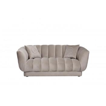 Велюровый двухместный диван Fabio Бежево-серый 182*95*72см, 2 подушки Bel03