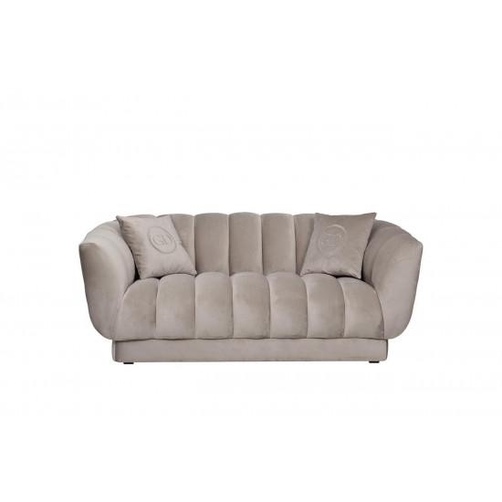 Велюровый двухместный диван Fabio Бежево-серый 182*95*72см, 2 подушки Bel03  в интернет-магазине ROSESTAR фото