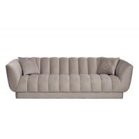 Велюровый трёхместный диван Fabio Бежево-серый 239*95*72см, 2 подушки Bel03