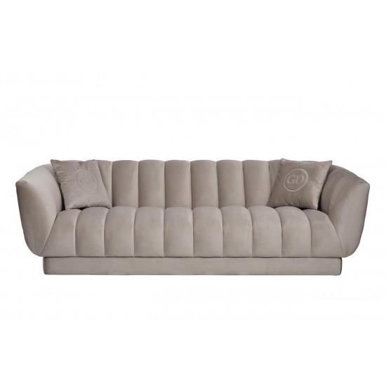 Велюровый трёхместный диван Fabio Бежево-серый 239*95*72см, 2 подушки Bel03 в интернет-магазине ROSESTAR фото