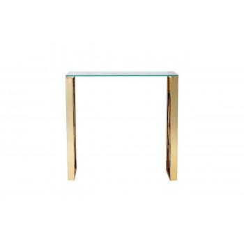 Металлическая консоль с прозрачным стеклом и золотыми ножками 80*30*78см 47ED-CST008/80GOLD