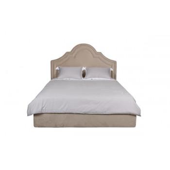 Двуспальная бежевая кровать без подъемного механизма велюр Charlotte 178*218*141см Bel01