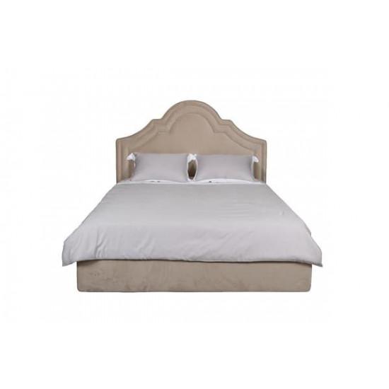 Двуспальная бежевая кровать без подъемного механизма велюр Charlotte 178*218*141см Bel01 в интернет-магазине ROSESTAR фото