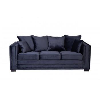 Велюровый трёхместный раскладной диван Opera Темно-синий 227*104*95см Bel18