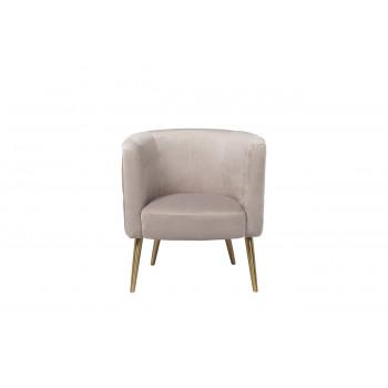 Велюровое кресло на металлических ножках жемчужно-серое 73*67*77см 48MY-2533 PEG GLD