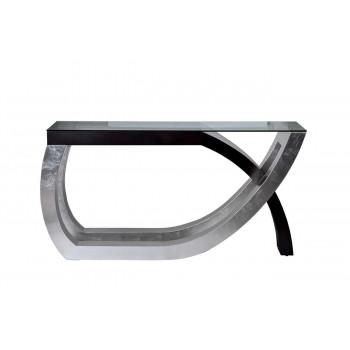 Металлическая консоль с закаленным прозрачным стеклом 152*41*76см ART-4501-D