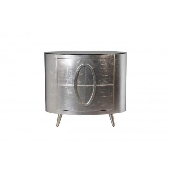 Комод с дверцами серебристый округлый 112*51*94см ART-4505-S  в интернет-магазине ROSESTAR фото