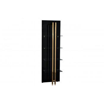 Стеллаж металлический с полками из чёрного стекла Marbella 60*33*195см 58DB-SH17071B