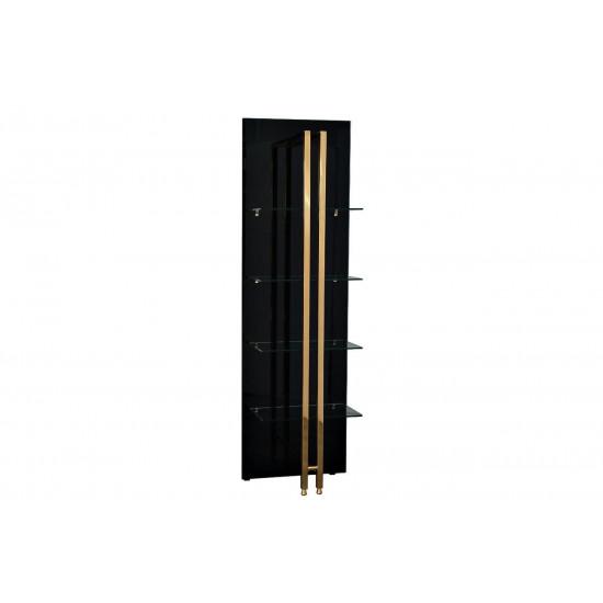 Стеллаж металлический с полками из чёрного стекла Marbella 60*33*195см 58DB-SH17071B в интернет-магазине ROSESTAR фото