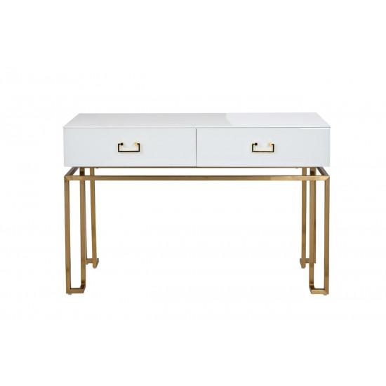 Консоль белая с ящиками на металлических ножках стекло/матовое золото 120*42*77см KFG070 в интернет-магазине ROSESTAR фото