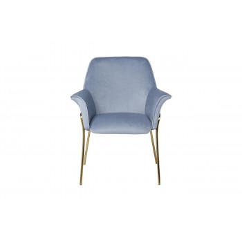 Велюровое кресло на металлических ножках серо-голубое 71*58*87см 30C-1127-Z LBL