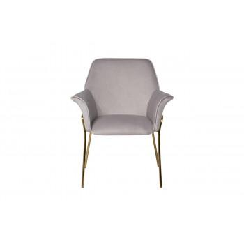 Велюровое кресло на металлических ножках светло-серое 71*58*87см 30C-1127-Z GRE