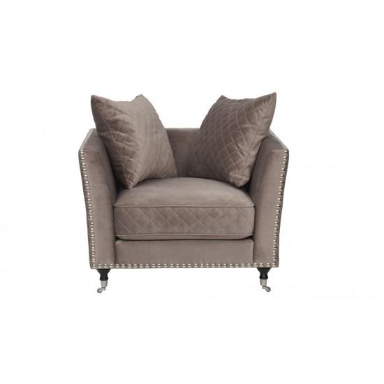 Велюровое кресло крем-брюле мягкое Sorrento 98*101*88см Bel42 в интернет-магазине ROSESTAR фото