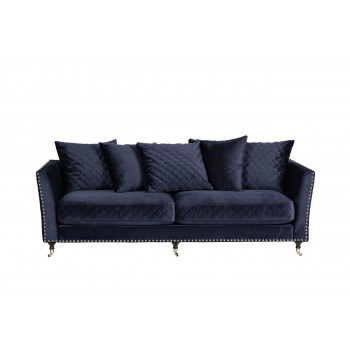 Велюровый двухместный раскладной диван Sorrento Тёмно-синий 220*101*88см Bel18