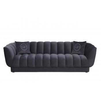 Велюровый трёхместный диван Fabio Синий 239*95*72см, 2 подушки Gen12