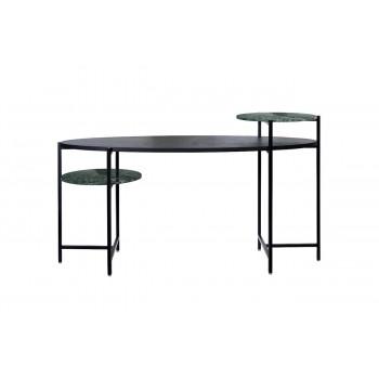 Письменный стол деревянный черный, мрамор India Green 160*60*92