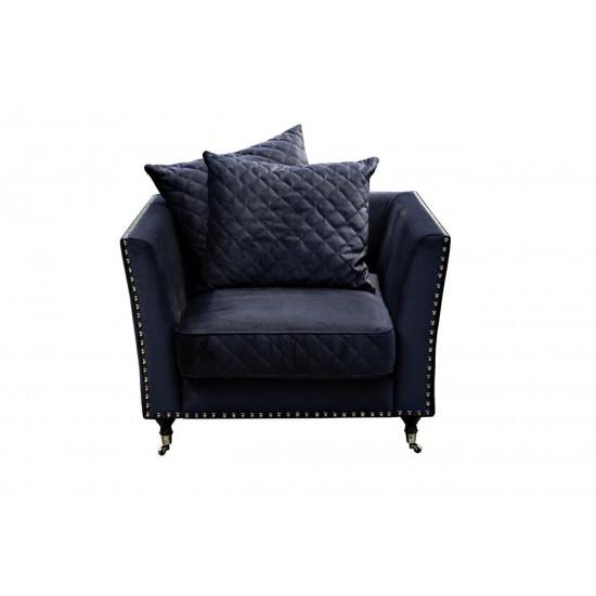 Велюровое кресло тёмно-синее мягкое Sorrento 98*101*88см Bel18 в интернет-магазине ROSESTAR фото