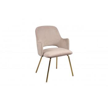Велюровое кресло на металлических ножках серо-бежевое 55*58*80см 30C-1231 GRB