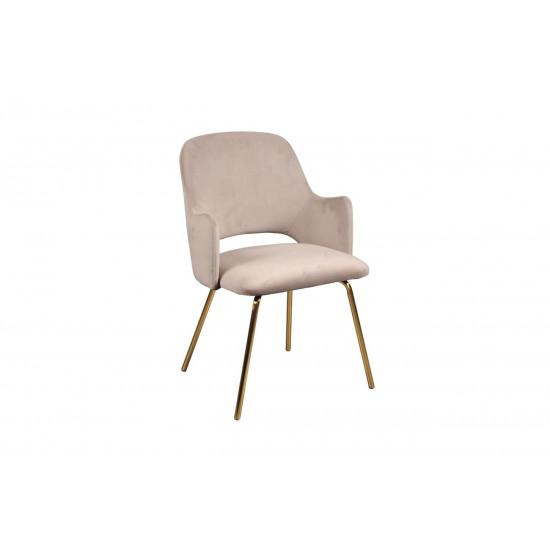 Велюровое кресло на металлических ножках серо-бежевое 55*58*80см 30C-1231 GRB в интернет-магазине ROSESTAR фото