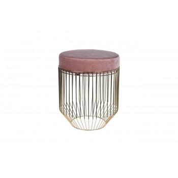 Банкетка розовая круглая на металлическом каркасе велюр d38*44.5см A98005610
