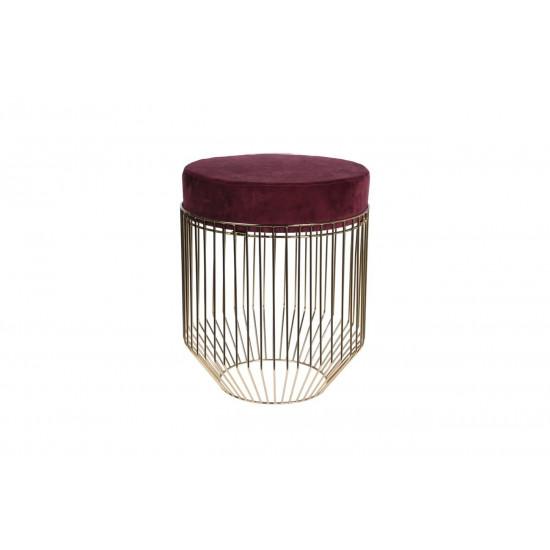 Банкетка бордовая круглая на металлическом каркасе велюр d38*44.5см A98005620 в интернет-магазине ROSESTAR фото