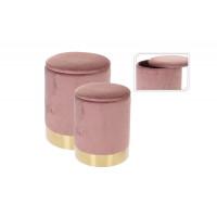 Набор из двух розовых велюровых круглых пуфиков d37*46 см/d31*38см CAM000420