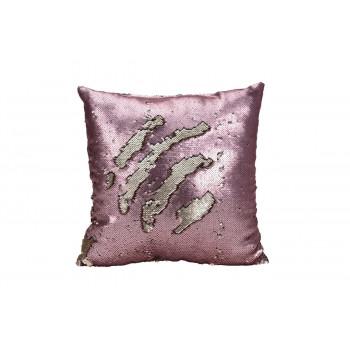 Подушка с пайетками розовая 43*43см 767542150