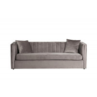 Велюровый трёхместный раскладной диван Paolo Серый  232*91*74см, 2 подушки Vel08