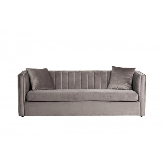 Велюровый трёхместный раскладной диван Paolo Серый  232*91*74см, 2 подушки Vel08 в интернет-магазине ROSESTAR фото
