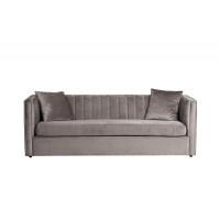 Велюровый трёхместный раскладной диван Paolo Cеро-бежевый 232*91*74, 2 подушки Bel42