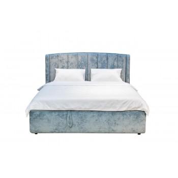 Двуспальная бирюзовая кровать без подъемного механизма велюр 186*220*120см Cru14