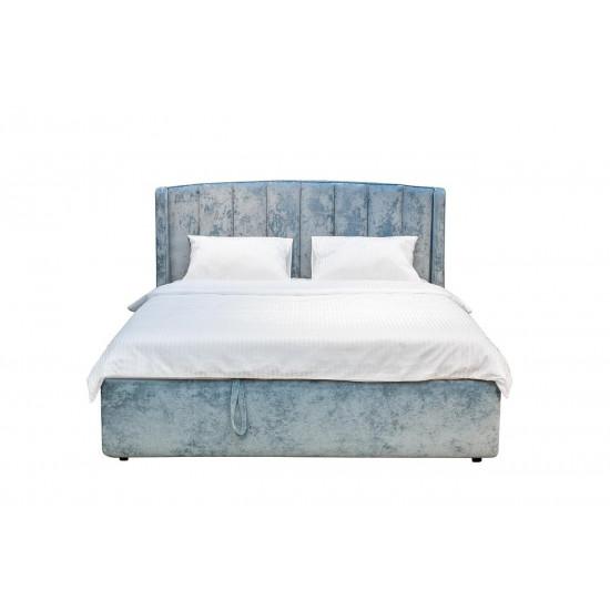 Двуспальная бирюзовая кровать без подъемного механизма велюр 186*220*120см Cru14 в интернет-магазине ROSESTAR фото