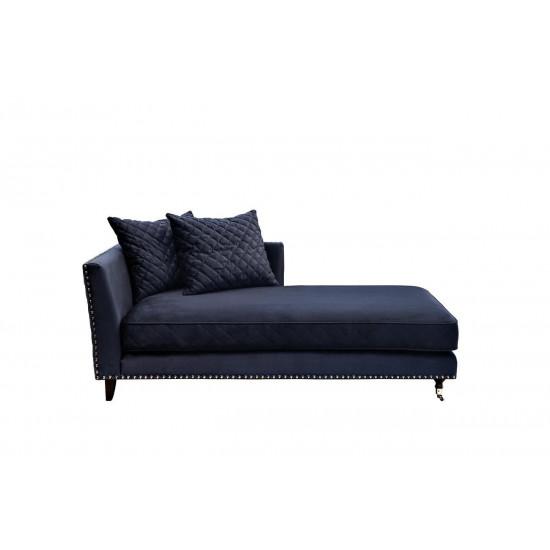Велюровая тёмно-синяя кушетка Sorrento правая 180*98*88см Bel18 в интернет-магазине ROSESTAR фото