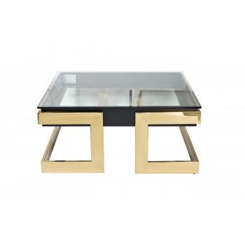 Квадратный журнальный столик на металлической основе со стеклянной столешницей Marbella 100*100*44,5см 58DB-CT18166