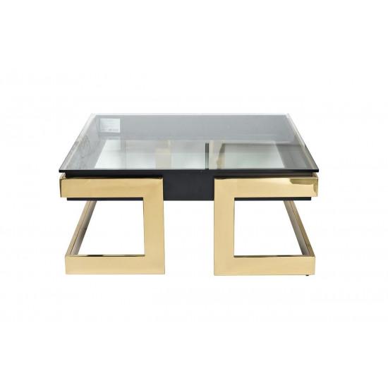Квадратный журнальный столик на металлической основе со стеклянной столешницей Marbella 100*100*44,5см 58DB-CT18166 в интернет-магазине ROSESTAR фото