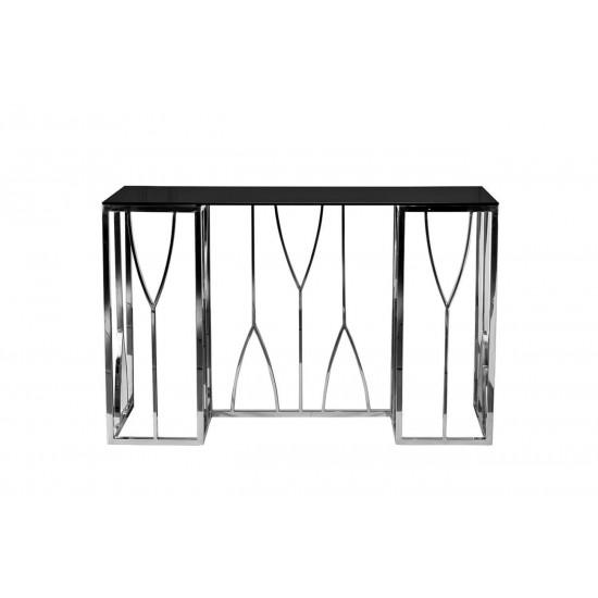 Консоль со стеклом на металлических ножках черное/серебро 120*40*78см 13RXC3102-SILVER в интернет-магазине ROSESTAR фото