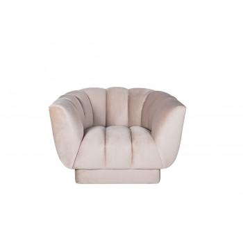 Велюровое кресло бежево-серое мягкое Fabio 104*96*74см Bel03