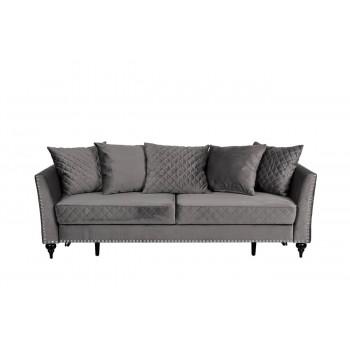 Велюровый трёхместный раскладной диван Sorrento Серый 230*101*86 Н-Йорк112