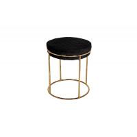 Банкетка металлическая чёрная велюр с золотыми ножками d38*45см GY-BEN8178GOLD-BL