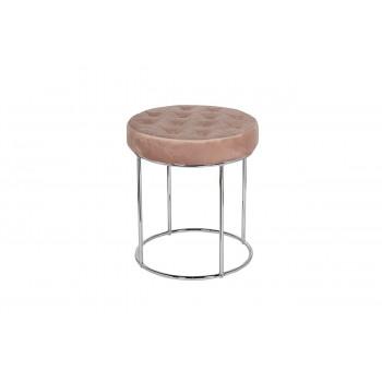 Банкетка круглая розовая на металлическом каркасе велюр d40*50см GY-BEN8172-PK