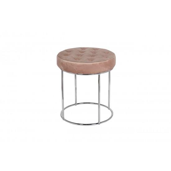 Банкетка круглая розовая на металлическом каркасе велюр d40*50см GY-BEN8172-PK в интернет-магазине ROSESTAR фото