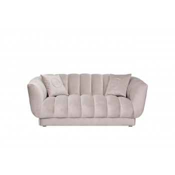 Велюровый двухместный диван Fabio Бежево-серый 182*95*72см,2 подушки Gen105