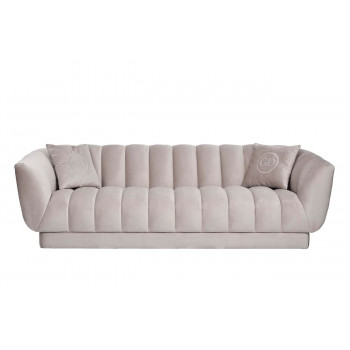 Велюровый трёхместный диван Fabio Бежевый 239*95*72см,2 подушки Gen105