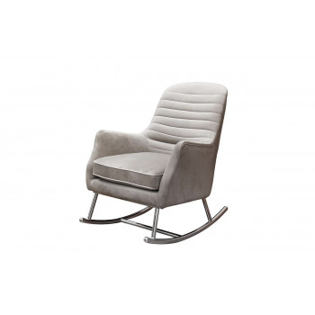 Кресло-качалка велюр жемчужно-серый 73*90*94см 48MY-2569 PEG SLV