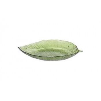 Декоративная тарелка стеклянная Лист зеленая 40см