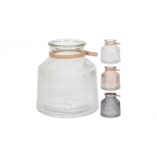 Подсвечник-ваза стеклянная h19см цвета ассорти NB3304050